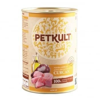 PETKULT Grain Free Adult, Curcan, conservă hrană umedă fără cereale câini, 400g