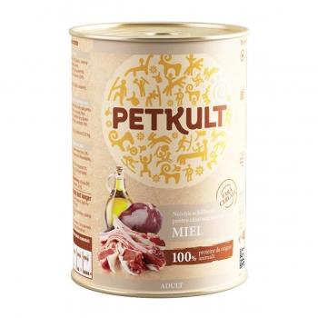 PETKULT Grain Free Adult, Miel, pachet economic conservă hrană umedă fără cereale câini, 400g x 4