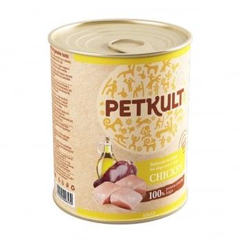 PETKULT Grain Free Adult, Pui, conservă hrană umedă fără cereale câini, 800g