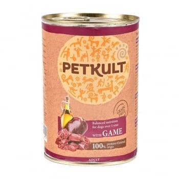 PETKULT Grain Free Adult, Vânat, conservă hrană umedă fără cereale câini, 800g