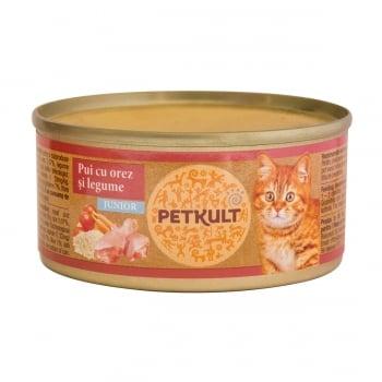 PETKULT Kitten, Pui, conservă hrană umedă pisici junior, 80g