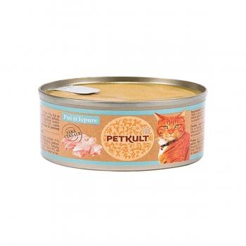 PETKULT Pui şi Iepure, conservă hrană umedă fără cereale pisici, 80g
