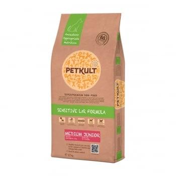 PETKULT Sensitive L&R Medium Junior, Miel şi Orez, hrană uscată câini junior, 12kg