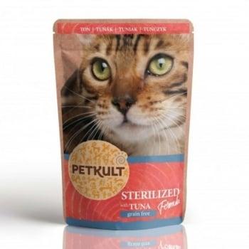 PETKULT Sterilised, Ton, plic hrană umedă fără cereale pisici, 100g