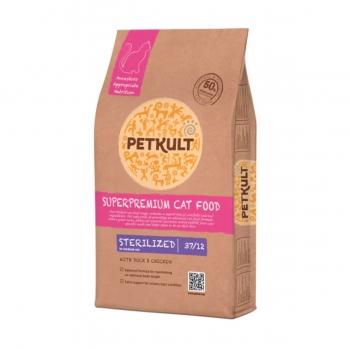 PETKULT Superpremium Sterilized 37/12, Rață și Pui, pachet economic hrană uscată pisici, 7kg x 2