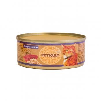PETKULT Ton şi Calamar, conservă hrană umedă fără cereale pisici, 80g
