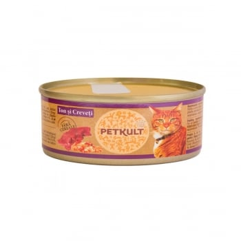 PETKULT Ton şi Creveti, conservă hrană umedă fără cereale pisici, 80g