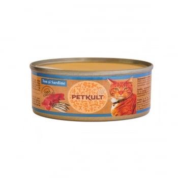 PETKULT Ton şi Sardine, conservă hrană umedă fără cereale pisici, 80g