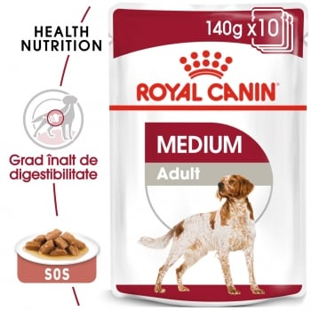 Royal Canin Medium Adult, bax hrană umedă câini, (în sos), 140g x 10