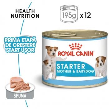 Royal Canin Starter, mama și puiul, bax hrană umedă câini, (pate) 195g x 12
