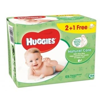 Servetele Umede Huggies Natural Care cu Aloe Vera, 2 + 1, 168 buc