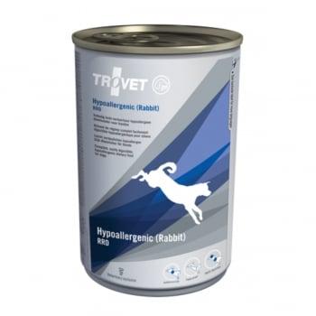 TROVET Dog Hypoallergenic RRD, Iepure, dietă veterinară câini, conservă hrană umedă, afecțiuni digestive si dermatologice, (pate), 400g