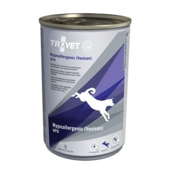TROVET Dog Hypoallergenic VPD,  Căprioară, dietă veterinară câini, conservă hrană umedă, afecțiuni digestive și dermatologice, (pate), 400g