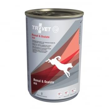 TROVET Dog Renal & Oxalate RID, dietă veterinară câini, conservă hrană umedă, afecțiuni renale și urinare (oxalați), (pate), 400g