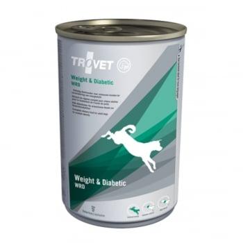 TROVET Dog Weight & Diabetic WRD, dietă veterinară câini, conservă hrană umedă, afecțiuni metabolice (obezitate și diabet), (pate), 400g
