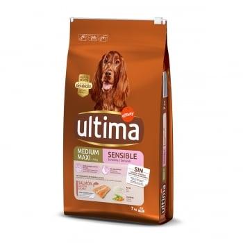 ULTIMA Dog Medium & Maxi Adult Sensitive, Somon, hrană uscată câini, confort digestiv, 7kg