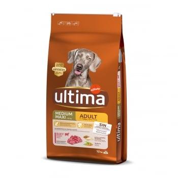 ULTIMA Dog Medium & Maxi Adult, Vită, hrană uscată câini, 12kg