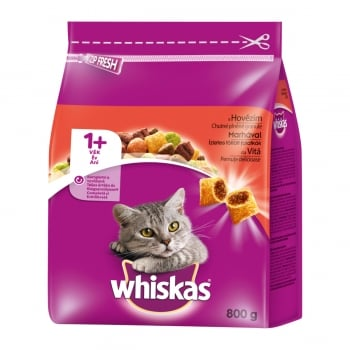 WHISKAS Adult, Vită, hrană uscată pisici, 800g