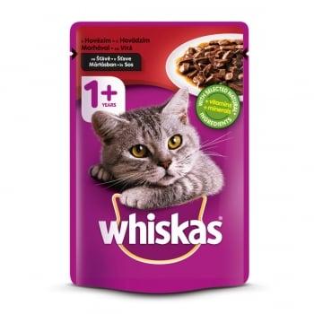 WHISKAS Adult, Vită, plic hrană umedă pisici, (în sos), 100g