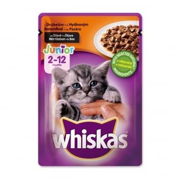 WHISKAS Junior, Pasăre, plic hrană umedă pisici junior, (în sos), 100g