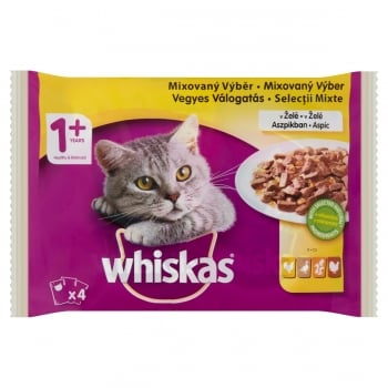 WHISKAS Selecții Pasăre, 4 arome, pachet mixt, plic hrană umedă pisici, (în aspic), 100g x 4