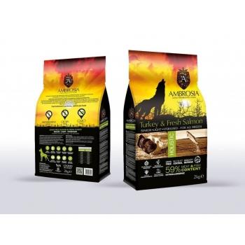 Ambrosia Grain Free Dog Senior Light Sterilizat Curcan&Somon, 12kg