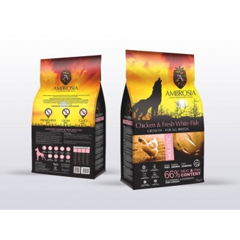 Ambrosia Grain Free Junior Pui&Peste Proaspat, 12kg