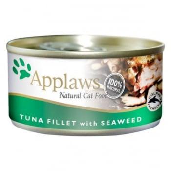 APPLAWS, File Ton și Alge Marine, conservă hrană umedă pisici, (în supă), 156g