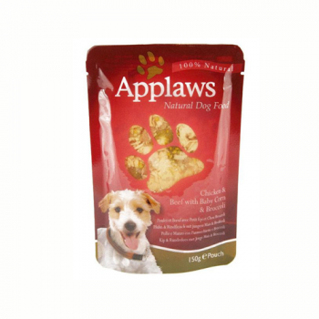 Applaws Dog Adult Pui  Vita  Porumb si Brocoli plic 150 g