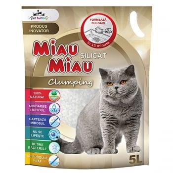 Pachet 4 x Nisip Miau Miau Silicat Clumping, 5 L