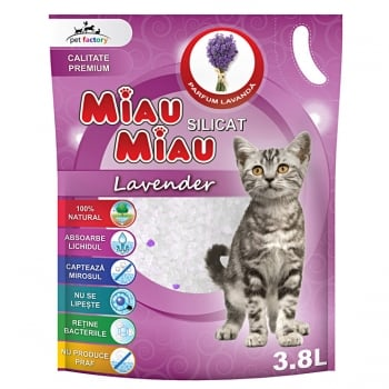Asternut Igienic Silicat Miau Miau Lavanda, 3.8 litri