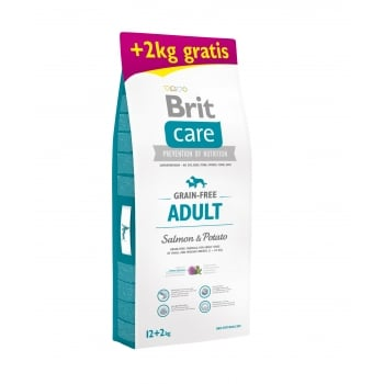Brit Care Grain-Free Adult Somon si Cartofi, 12 kg + 2 kg Gratis