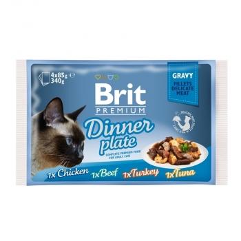 Brit Cat Multipack Delicate Dinner Plate in Gravy 4 x 85 g imagine