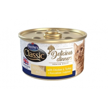 Pachet Butcher's Cat Delicious Dinner Mousse, Pui si Curcan, 6x85 g