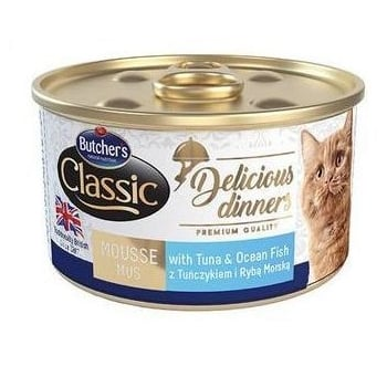 Pachet Butcher's Cat Delicious Dinner Mousse, Ton si Peste Oceanic, 6x85 g