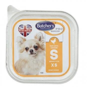 Butcher's Dog Pro Series Sensitive Pate, Talie Mica si Medie, Pui si Legume, 100 g