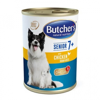 Pachet Butcher's Dog Senior 7+, Pate, Pui, Sunca si Orez, 6x400 g