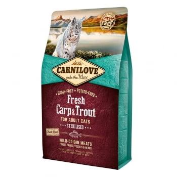 CARNILOVE Fresh Sterilised, Crap și Păstrăv, hrană uscată fără cereale pisici sterilizate, 6kg