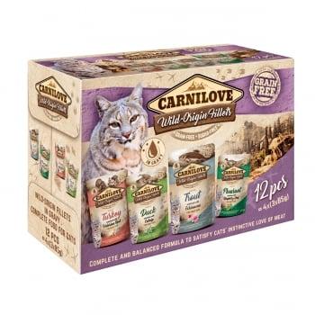 CARNILOVE Multipack, 4 arome, pachet mixt, plic hrană umedă fără cereale pisici, (în sos), 85g x 12