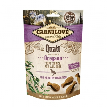 CARNILOVE Semi Moist Snack, Prepeliță cu Oregano, recompense funcționale fără cereale câini, sensibilități digestive, 200g
