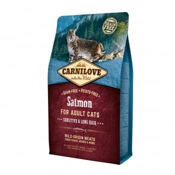 CARNILOVE Sensitive & Long Hair, Somon, hrană uscată fără cereale pisici, sensibilități digestive, piele și blană, 2kg