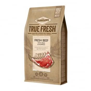 CARNILOVE True Fresh Adult S-XL, Vită proaspătă cu mazăre și dovleac, hrană uscată fără cereale câini, 4kg