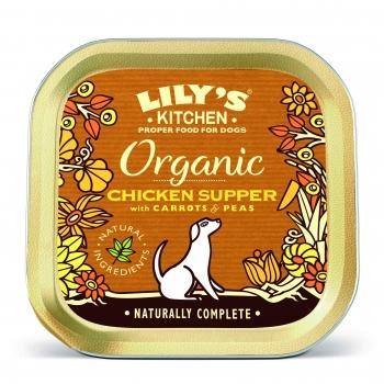 Conserva Caini Lily's Kitchen Organic cu Pui, Morcovi si Mazare, 150 g imagine