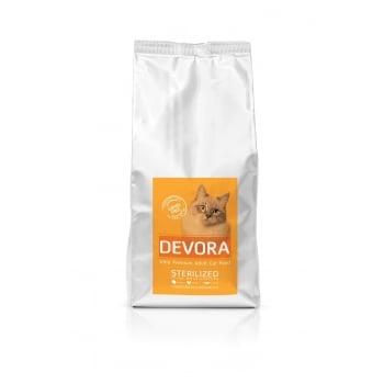 Pachet 2 x Devora Cat Grain Free Sterilizat cu Curcan, Pui si Hering, 7.5 kg