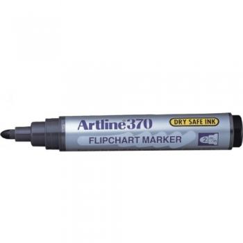 Flipchart marker varf rotund, 2.0mm, corp plastic, ARTLINE 370 - negru