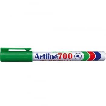 Permanent marker varf rotund, 0.7mm, corp metalic, ARTLINE 700 - verde