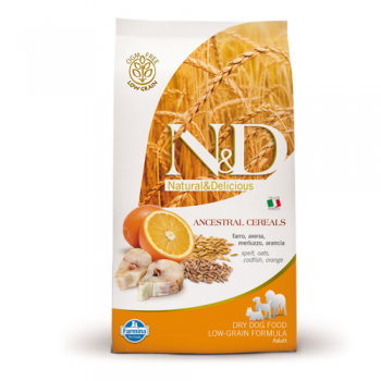 N&D Low Grain Adult Maxi Peste si Portocale, 12 kg