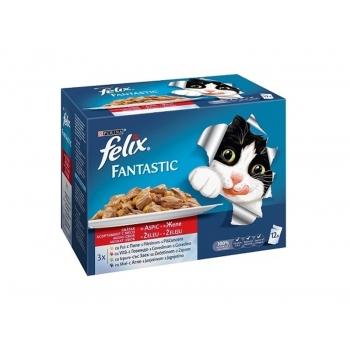 Felix Fantastic Multipack Pui, Vita, Iepure si Miel, 12 x 100 g