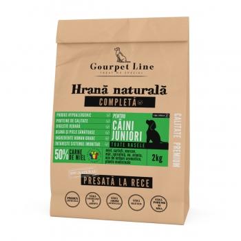 GOURPET LINE Junior, Miel, pachet economic hrană uscată presată la rece fără cereale câini junior, 2kg x 2