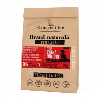 GOURPET LINE Junior, Vită și Somon, pachet economic hrană uscată presată la rece fără cereale câini junior, 2kg x 2